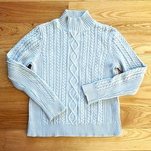 Pale baby blue mock-neck cable knit sweater